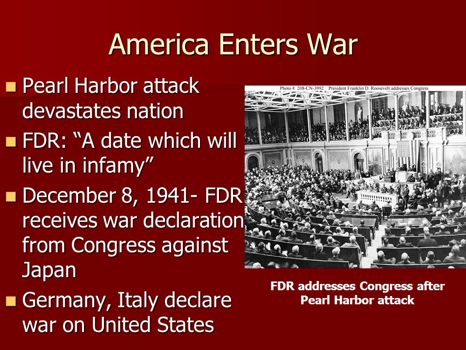 FDR addresses Congress after Pearl Harbor attack