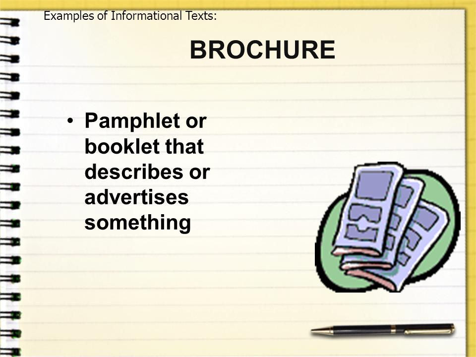 BROCHURE Pamphlet or booklet that describes or advertises something