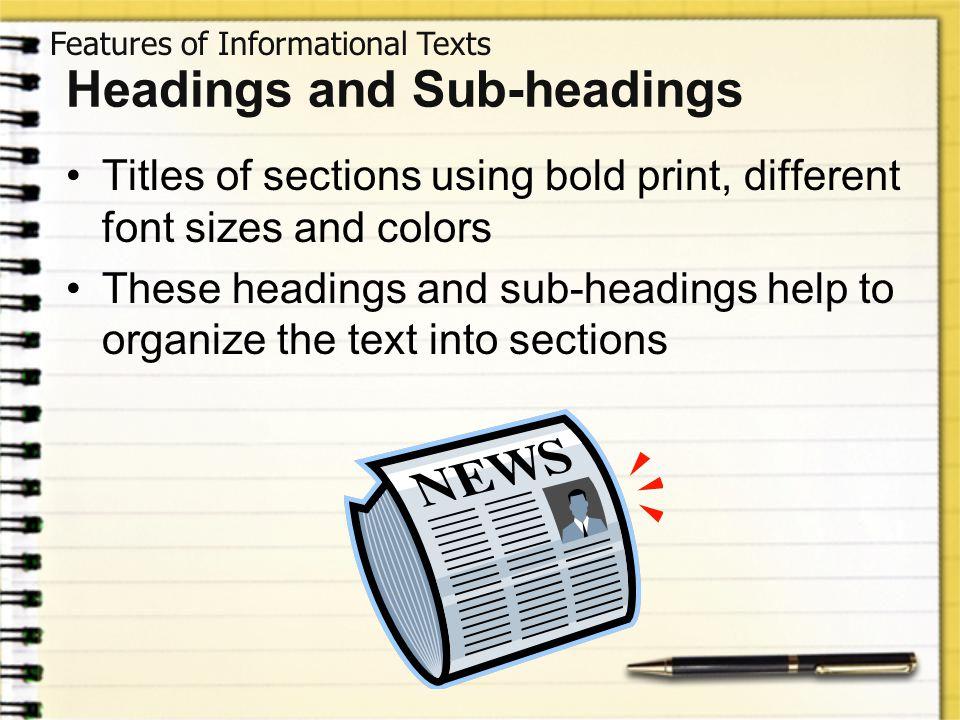 Headings and Sub-headings