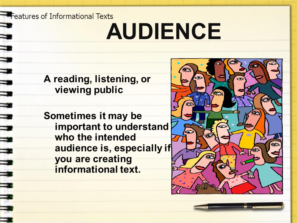 AUDIENCE A reading, listening, or viewing public