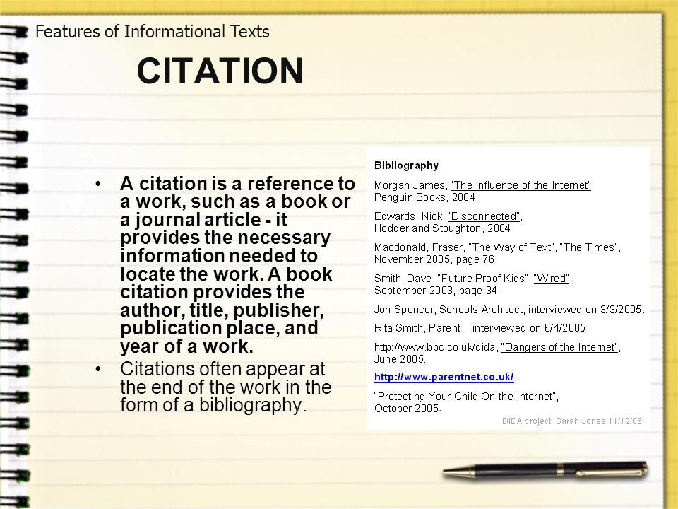 Features of Informational Texts
