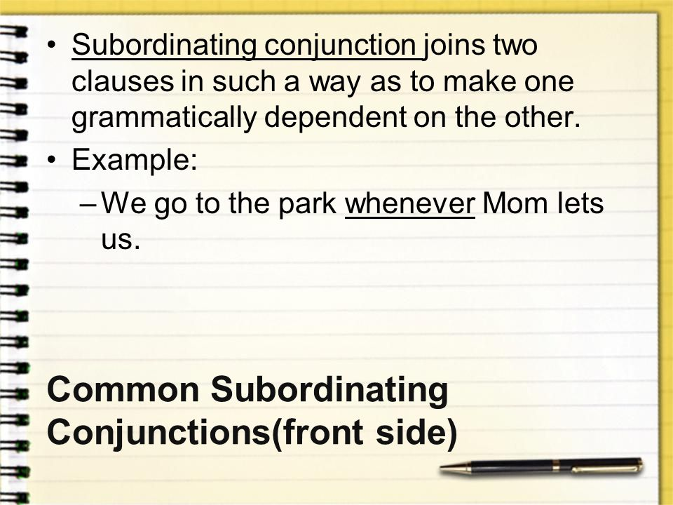 Common Subordinating Conjunctions(front side)