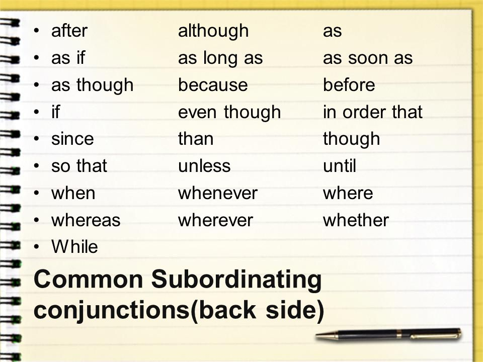 Common Subordinating conjunctions(back side)
