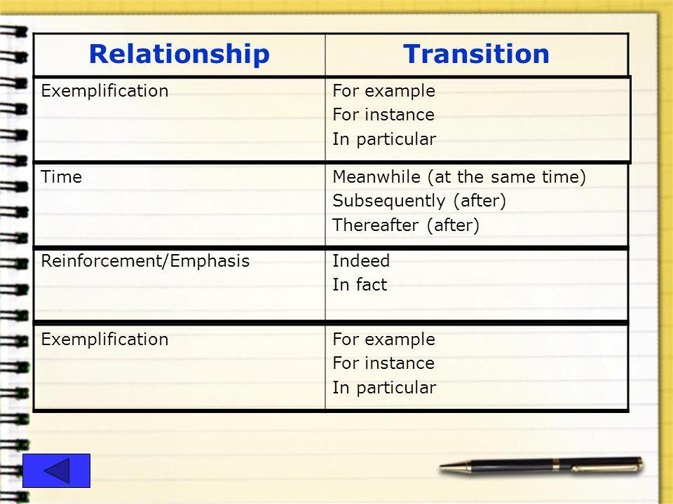Relationship Transition