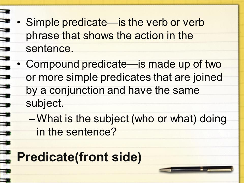 Predicate(front side)