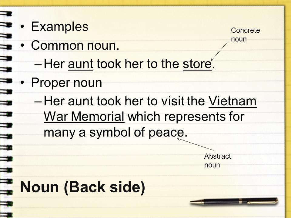 Noun (Back side) Examples Common noun. Her aunt took her to the store.