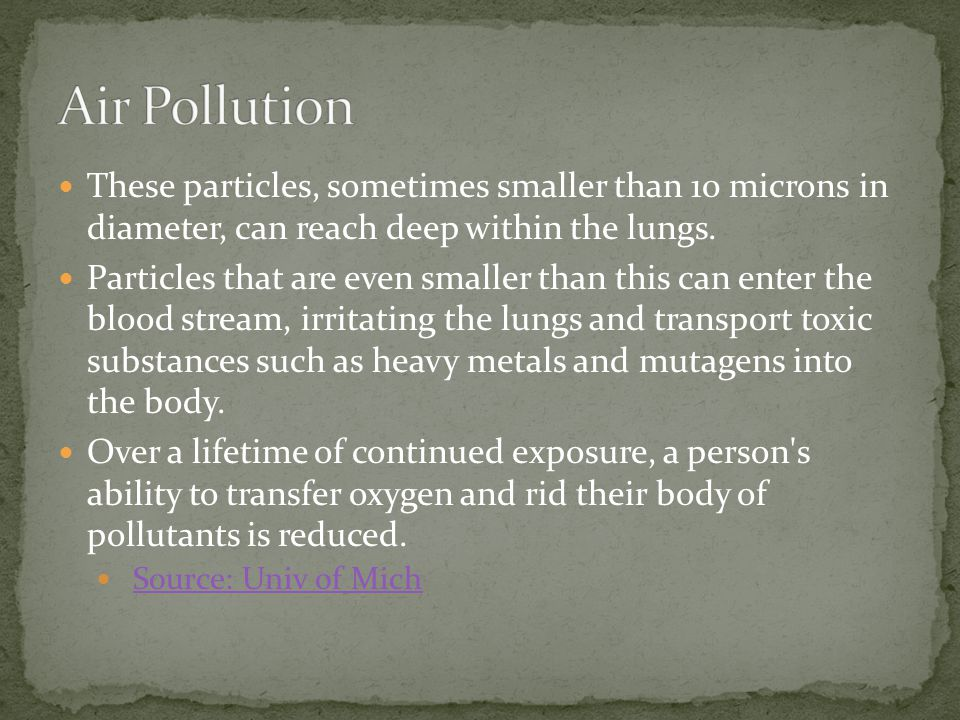 Air Pollution These particles, sometimes smaller than 10 microns in diameter, can reach deep within the lungs.