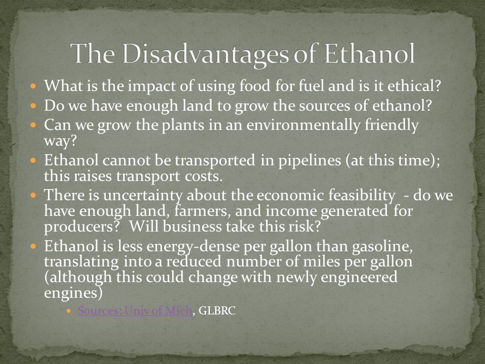The Disadvantages of Ethanol