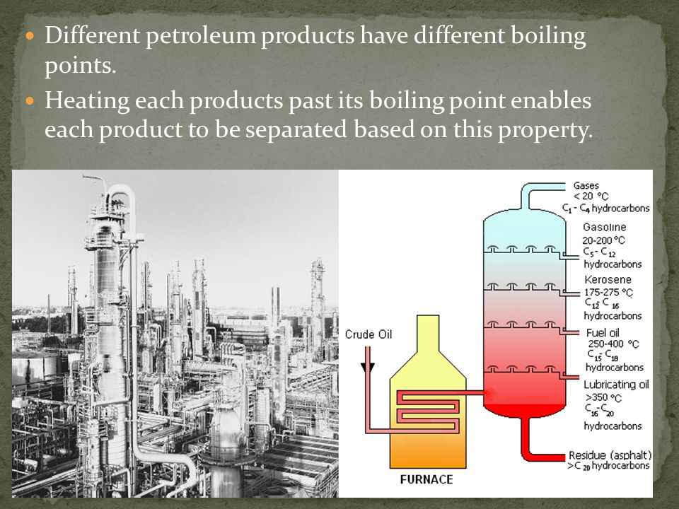 Different petroleum products have different boiling points.