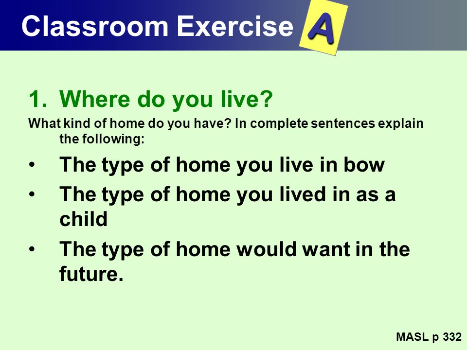 A Classroom Exercise Where do you live