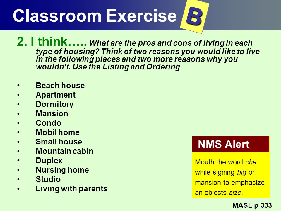 Classroom Exercise B.