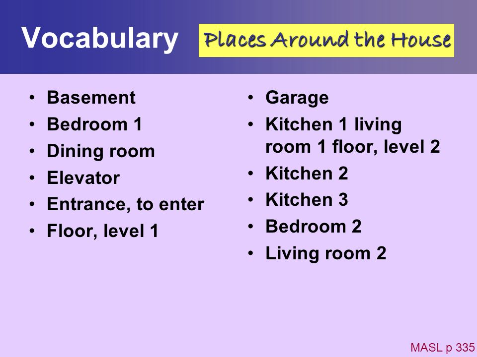 Vocabulary Places Around the House Basement Bedroom 1 Dining room