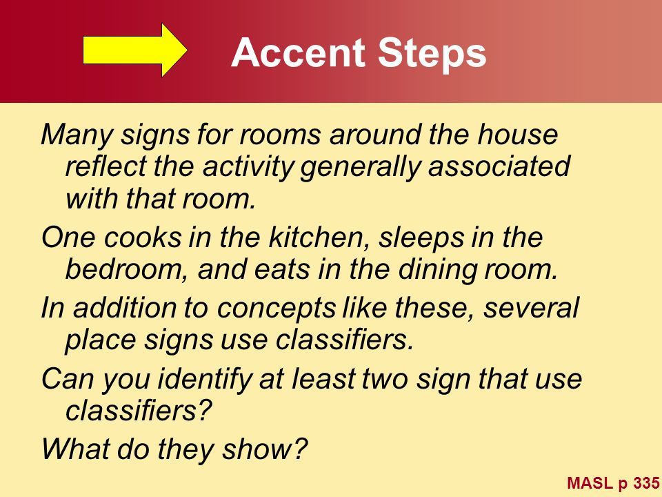 Accent Steps Many signs for rooms around the house reflect the activity generally associated with that room.