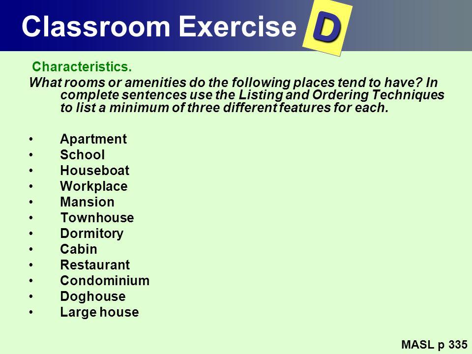D Classroom Exercise Characteristics.