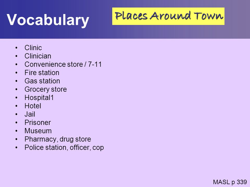 Vocabulary Places Around Town Clinic Clinician