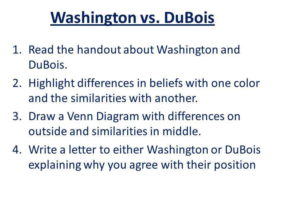 Washington vs. DuBois Read the handout about Washington and DuBois.