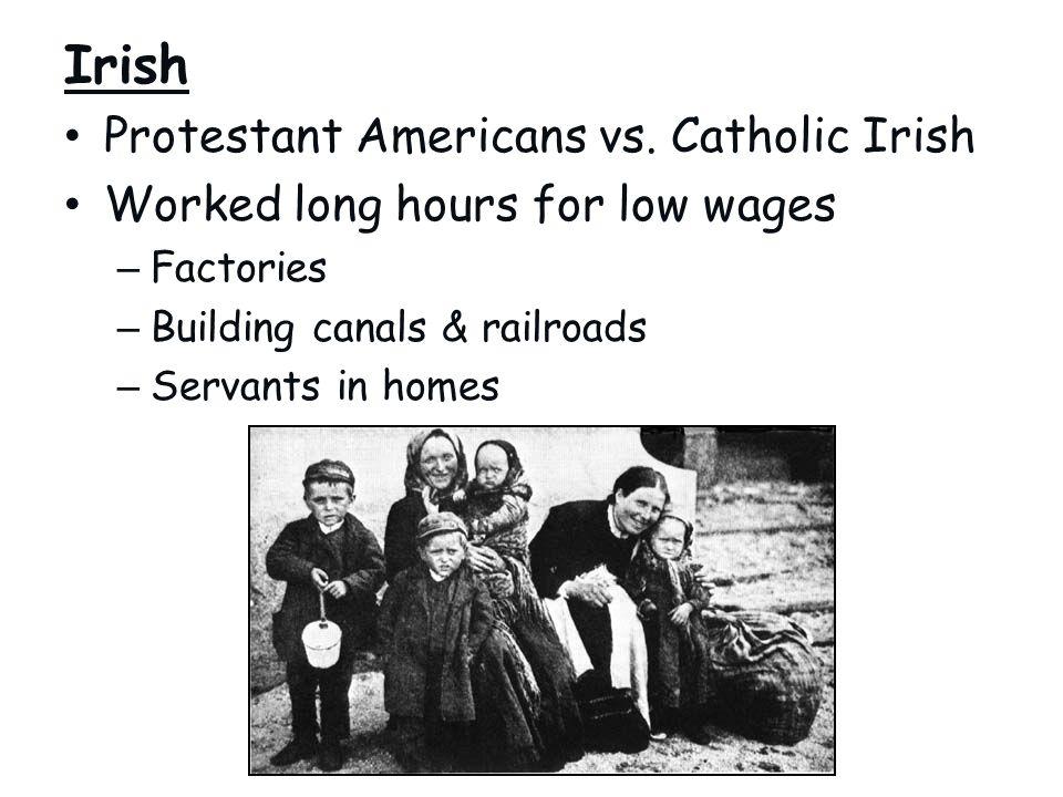 Irish Protestant Americans vs. Catholic Irish