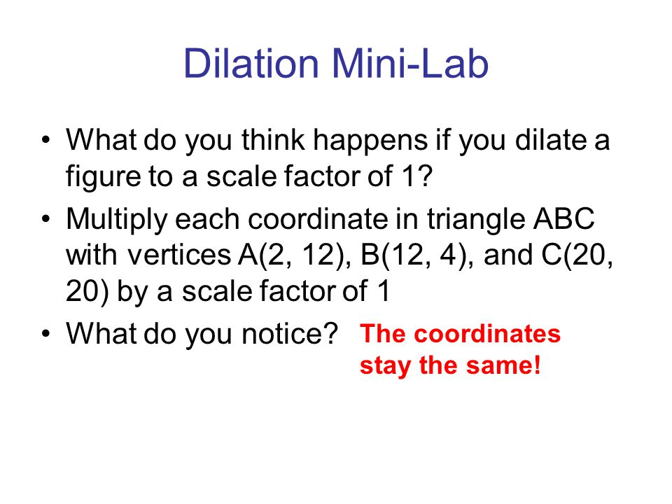 Dilation Mini-Lab What do you think happens if you dilate a figure to a scale factor of 1