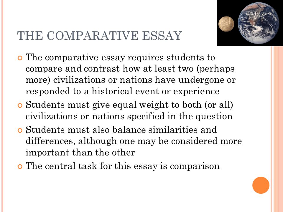 THE COMPARATIVE ESSAY