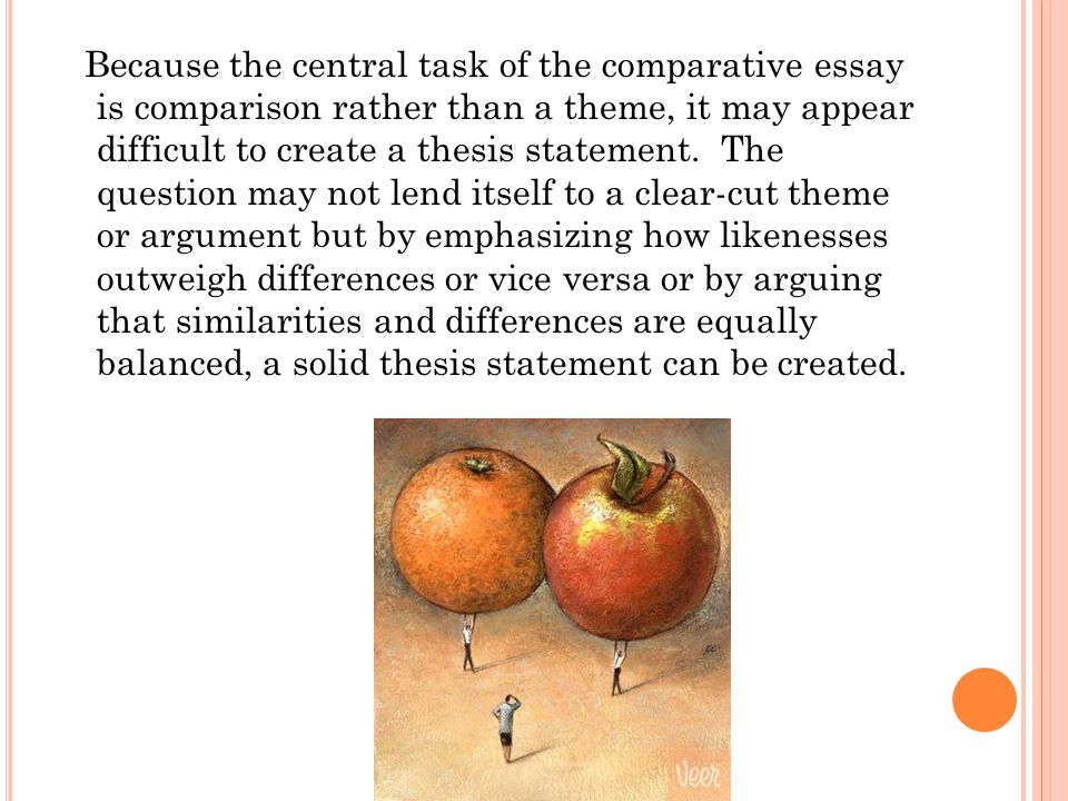 Because the central task of the comparative essay is comparison rather than a theme, it may appear difficult to create a thesis statement.