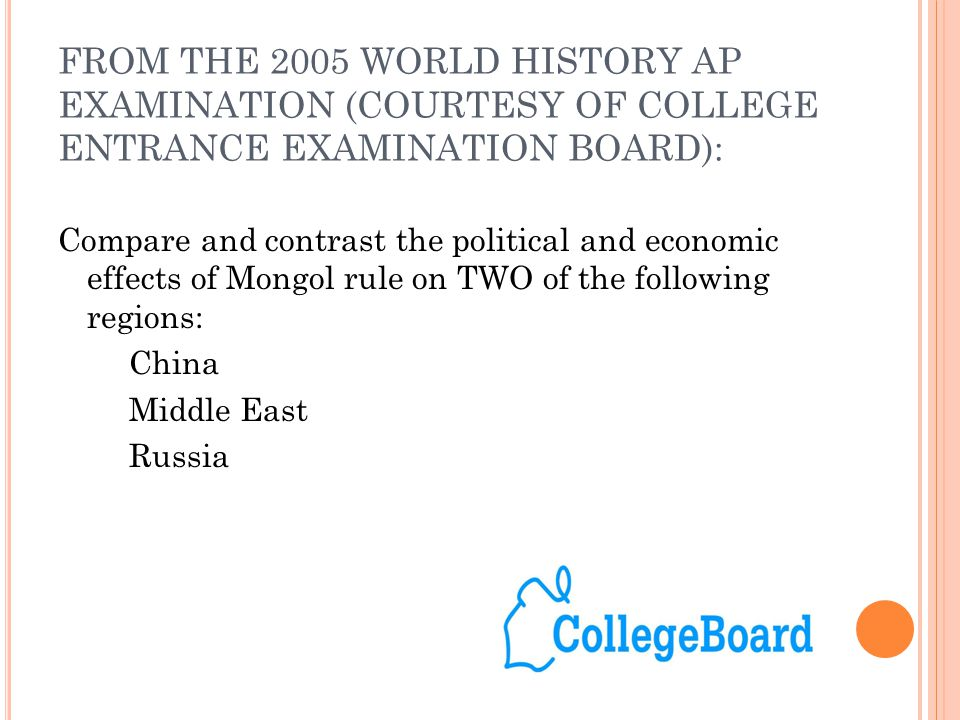 FROM THE 2005 WORLD HISTORY AP EXAMINATION (COURTESY OF COLLEGE ENTRANCE EXAMINATION BOARD):