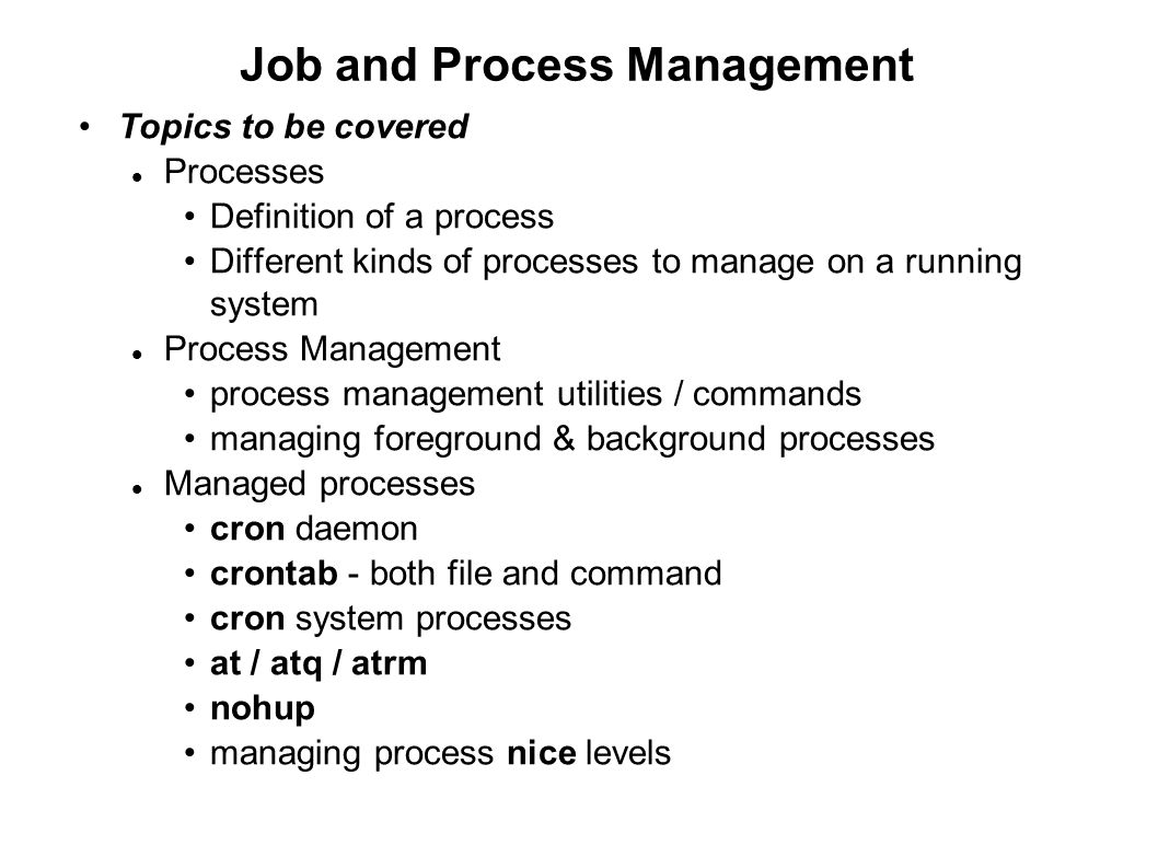 Job and Process Management