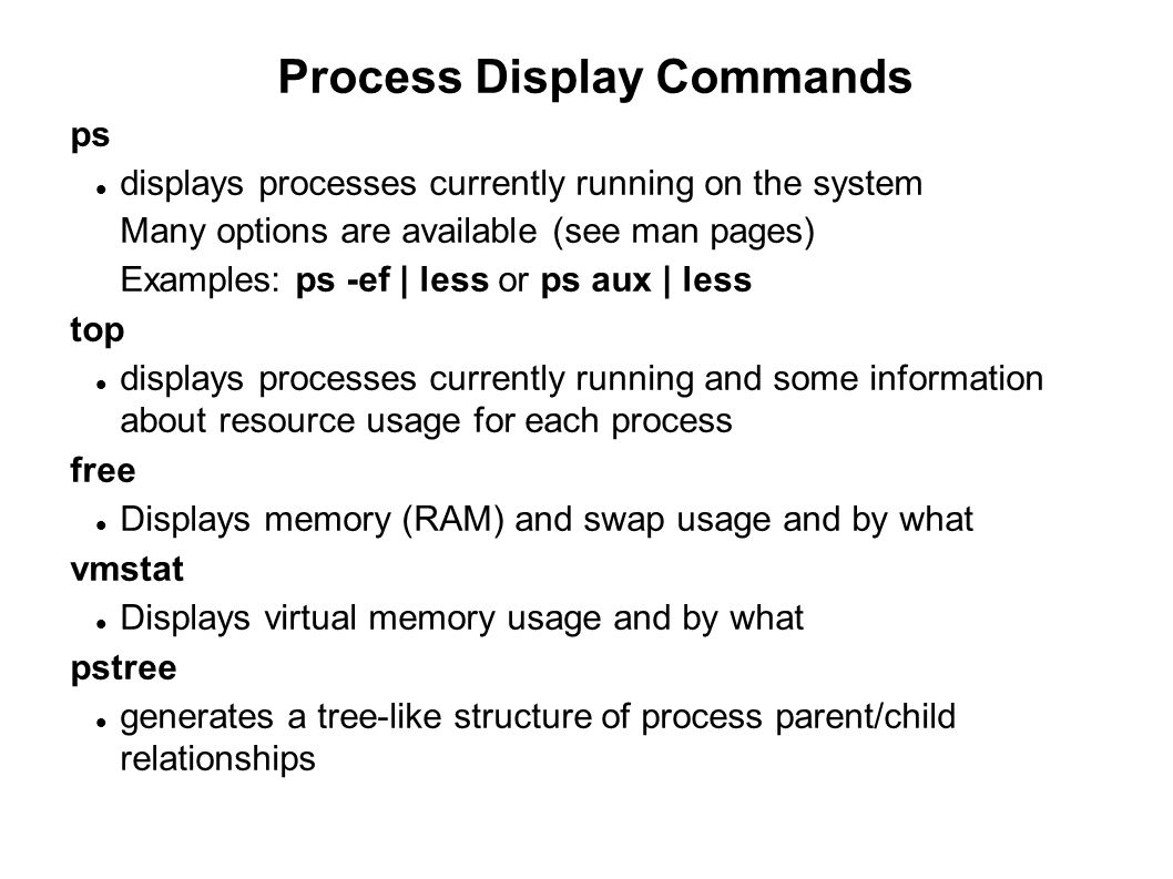 Process Display Commands