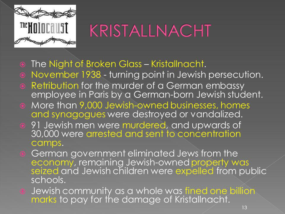 KRISTALLNACHT The Night of Broken Glass – Kristallnacht.