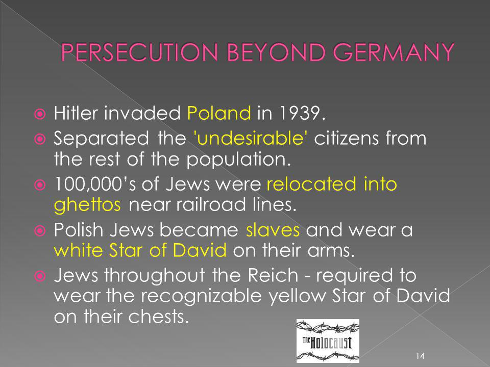 PERSECUTION BEYOND GERMANY