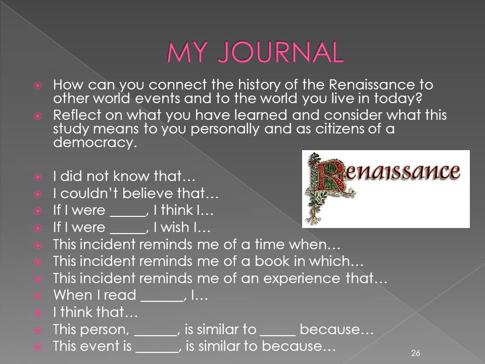 MY JOURNAL How can you connect the history of the Renaissance to other world events and to the world you live in today