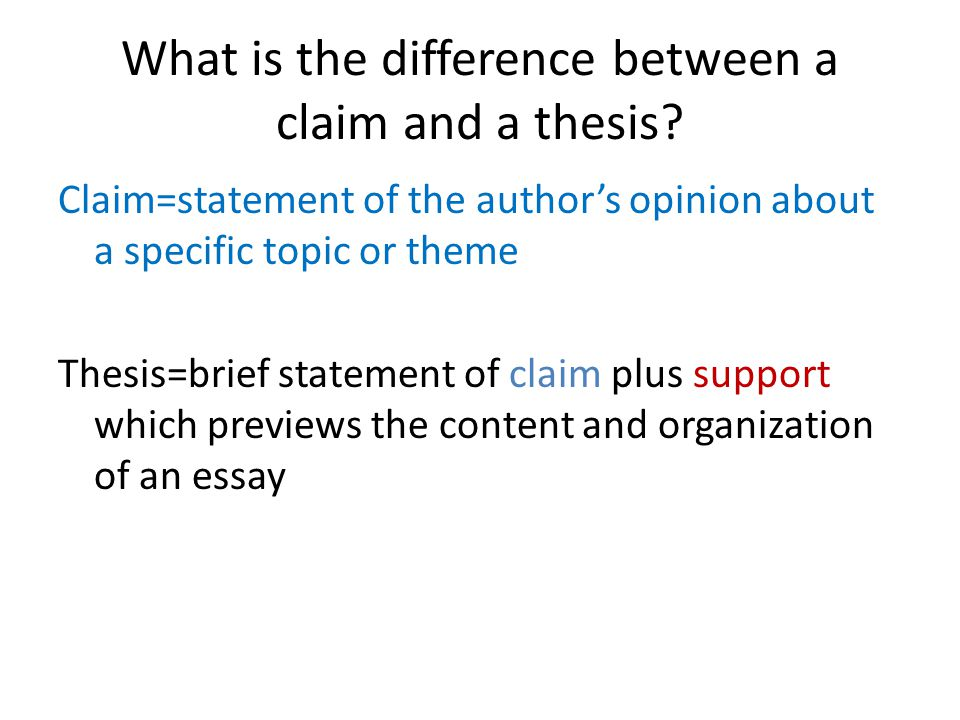 What is the difference between a claim and a thesis