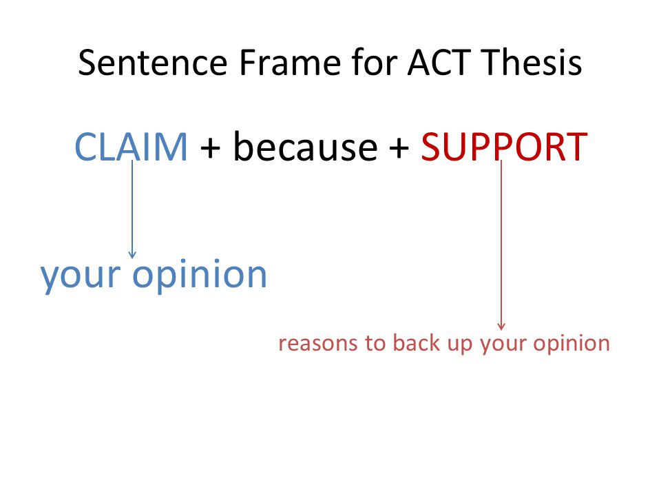 Sentence Frame for ACT Thesis