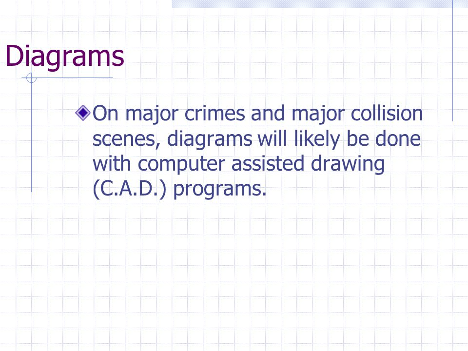 Diagrams On major crimes and major collision scenes, diagrams will likely be done with computer assisted drawing (C.A.D.) programs.