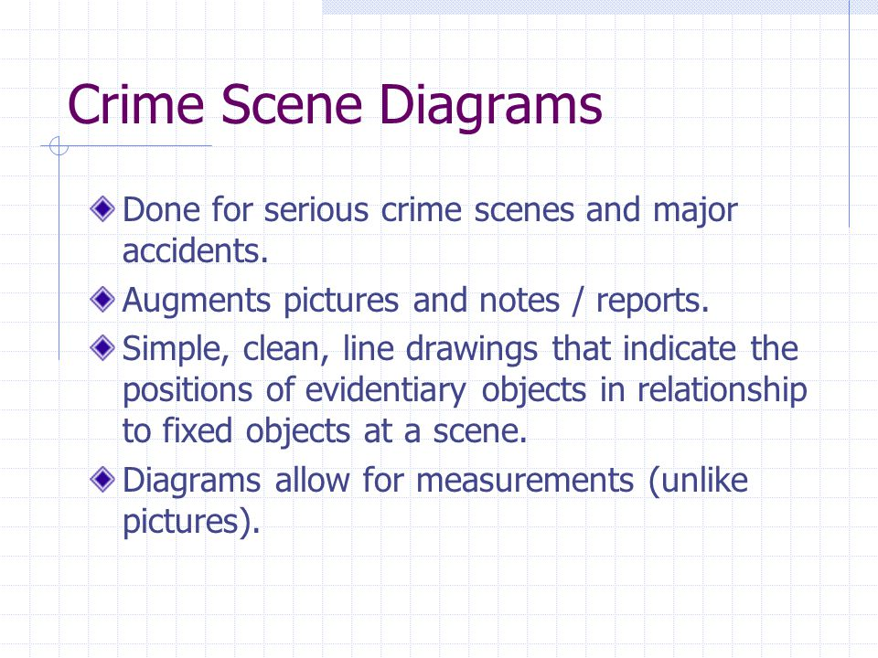 Crime Scene Diagrams Done for serious crime scenes and major accidents. Augments pictures and notes / reports.