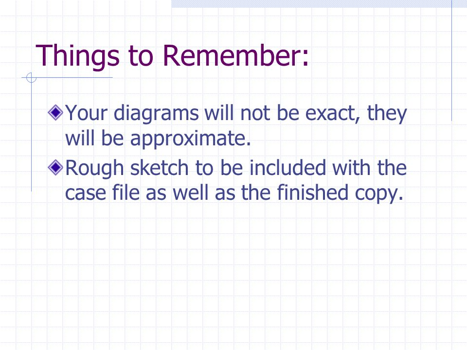 Things to Remember: Your diagrams will not be exact, they will be approximate.