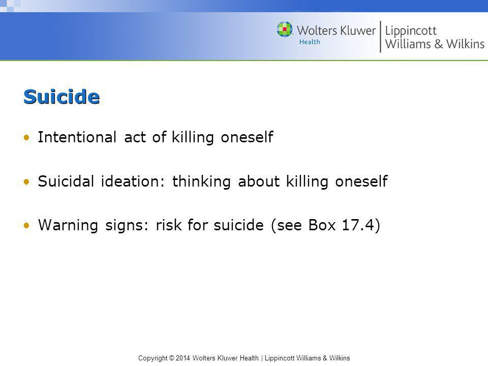 Suicide Intentional act of killing oneself