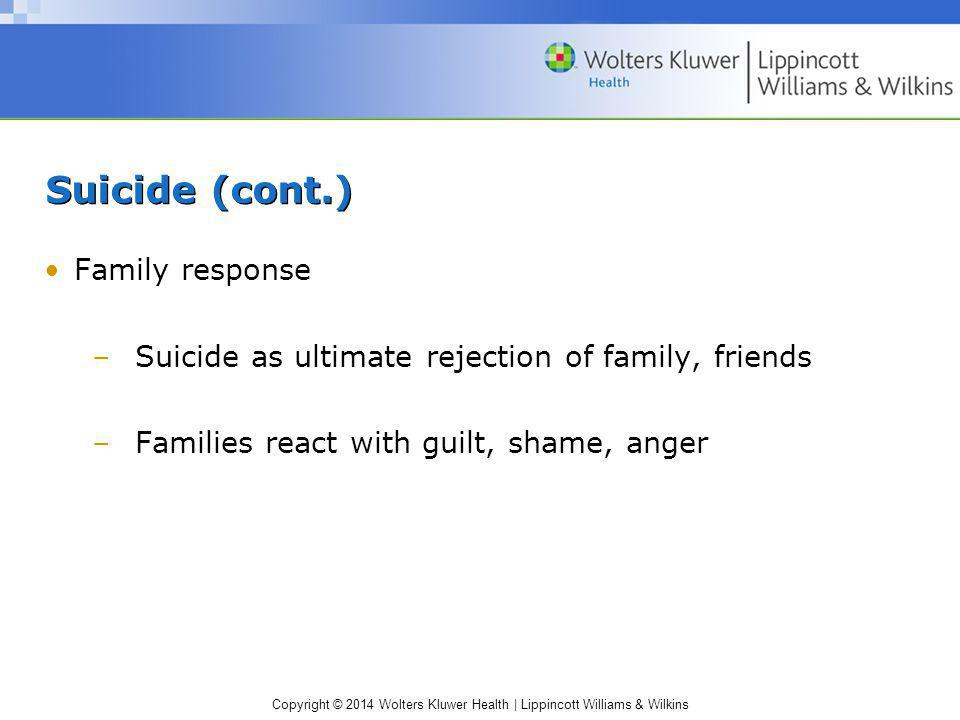 Suicide (cont.) Family response