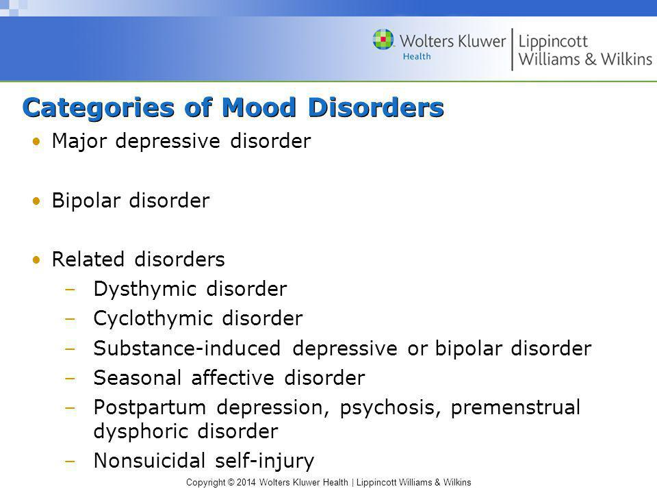 Categories of Mood Disorders