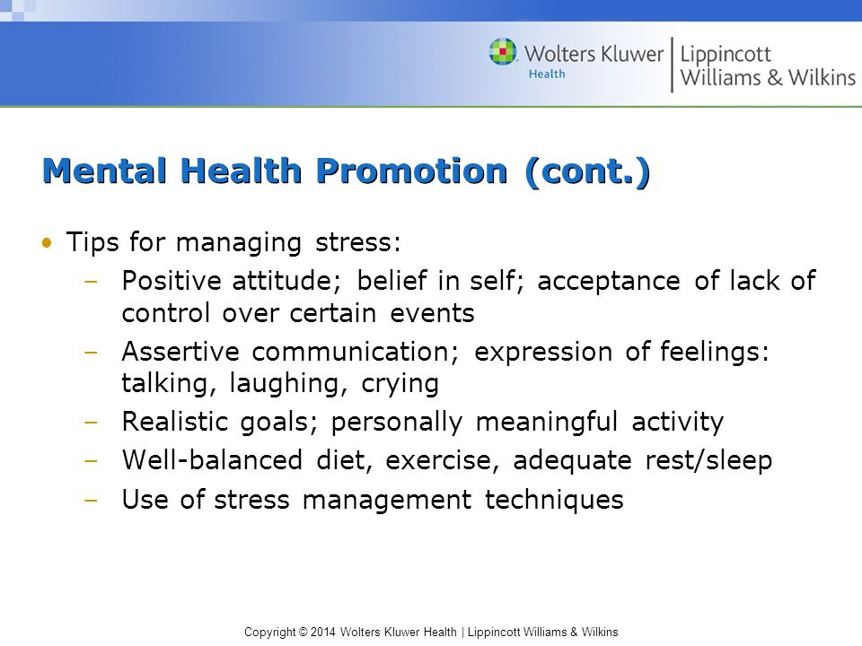 Mental Health Promotion (cont.)