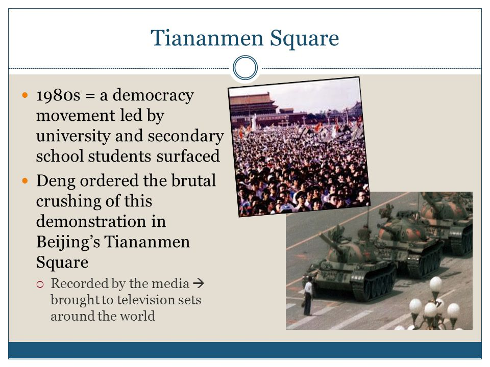 Tiananmen Square 1980s = a democracy movement led by university and secondary school students surfaced.
