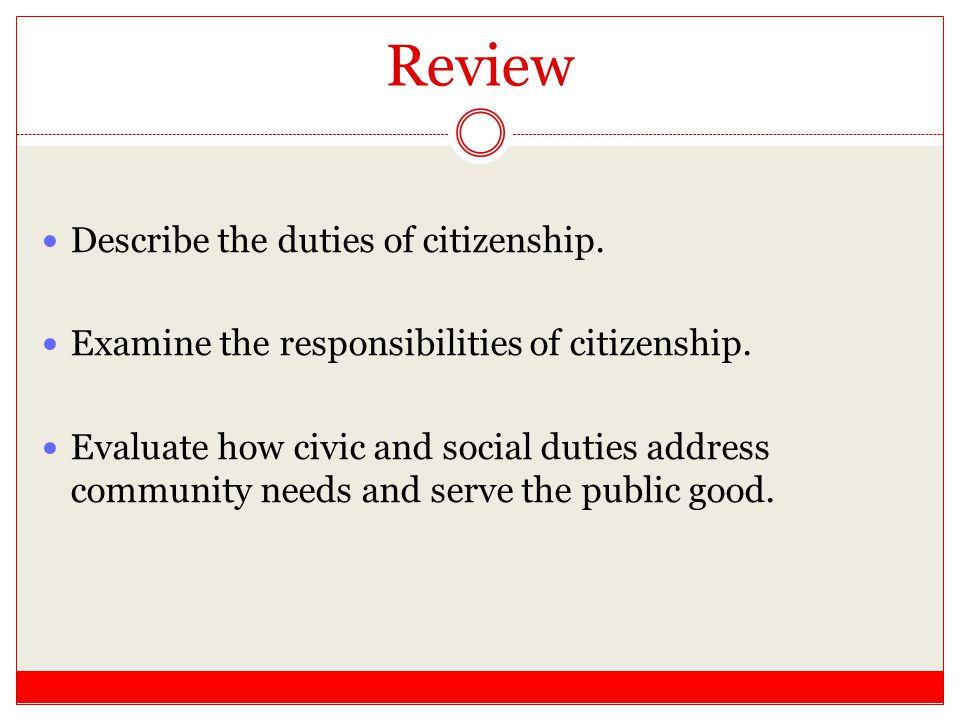 Review Describe the duties of citizenship.