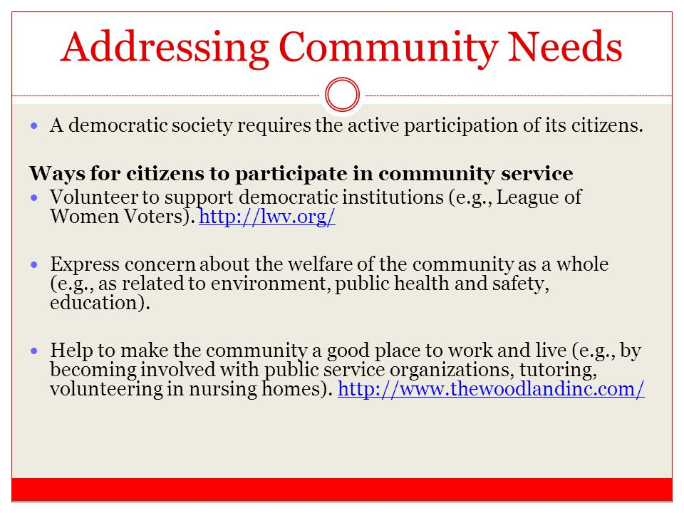 Addressing Community Needs