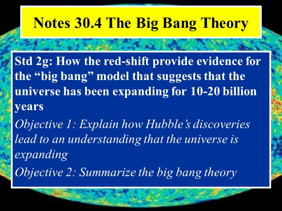 Notes 30.4 The Big Bang Theory