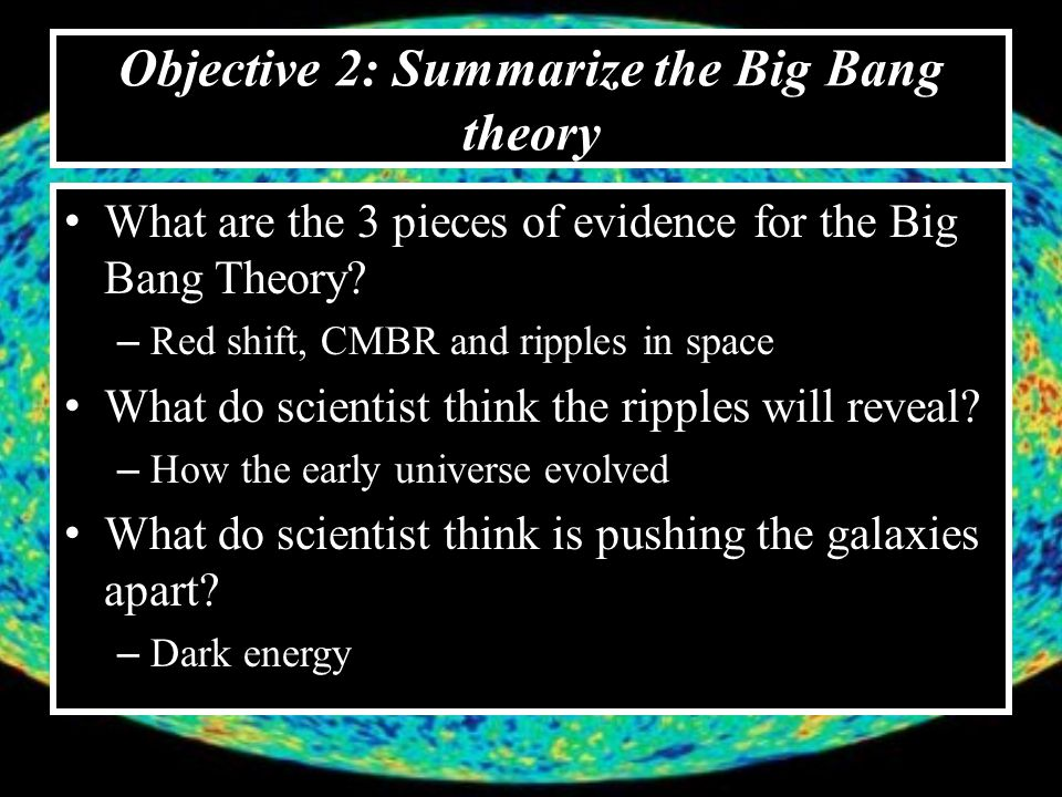 Objective 2: Summarize the Big Bang theory