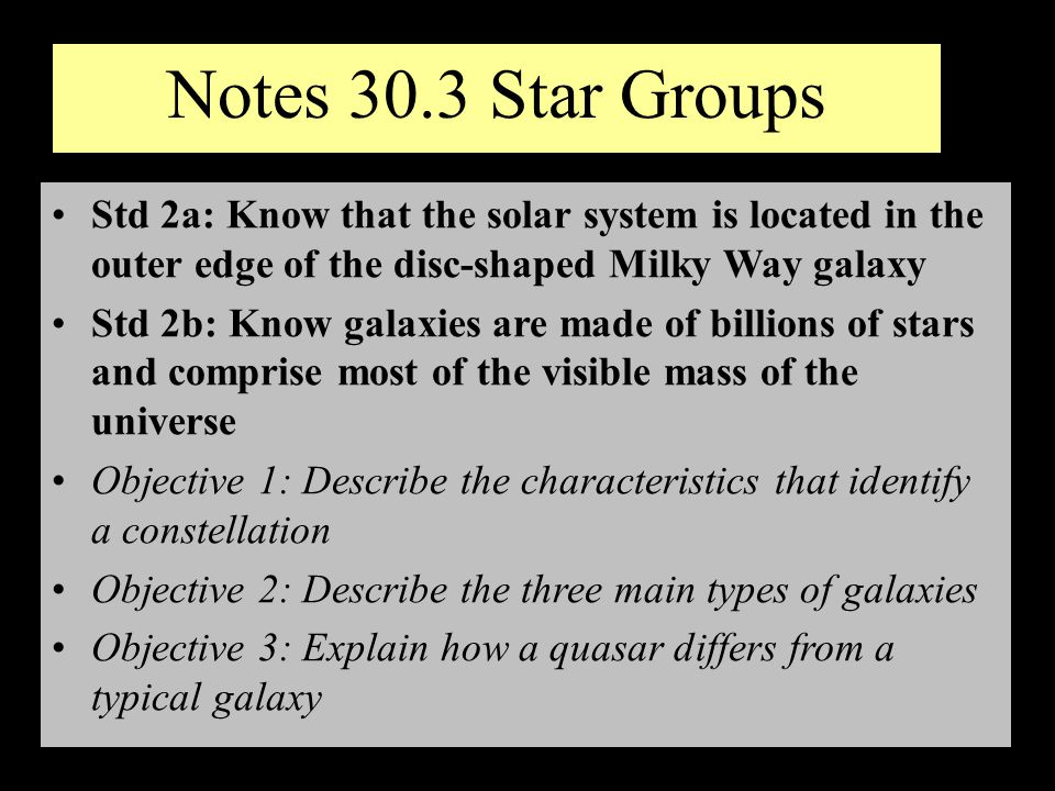 Notes 30.3 Star Groups Std 2a: Know that the solar system is located in the outer edge of the disc-shaped Milky Way galaxy.