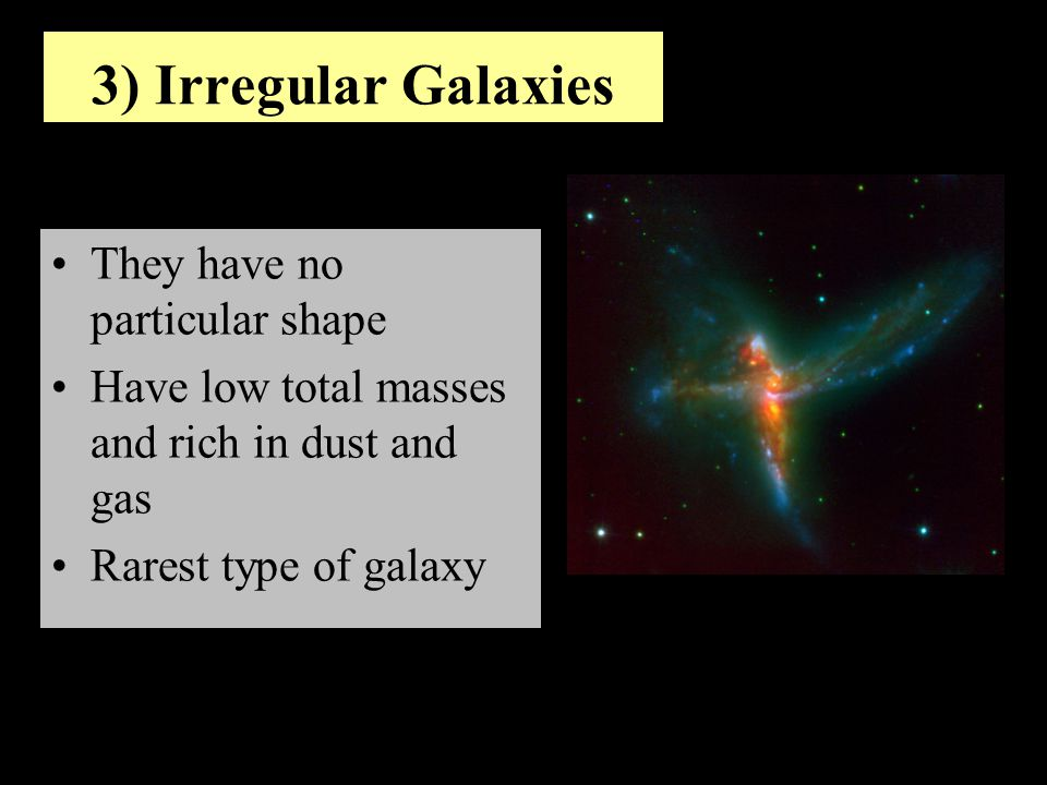 3) Irregular Galaxies They have no particular shape