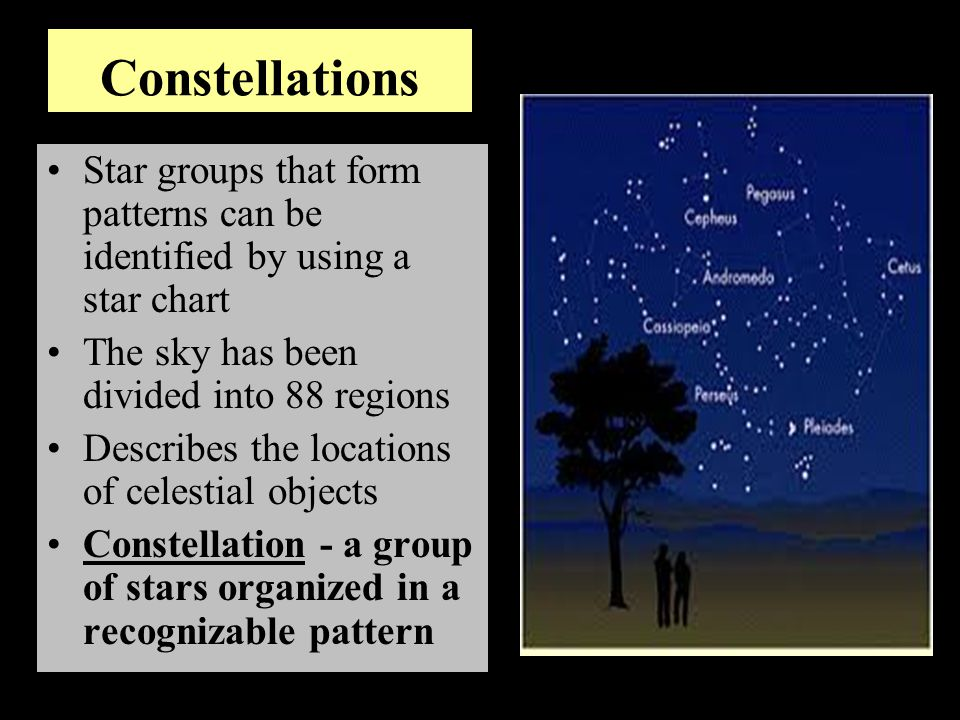Constellations Star groups that form patterns can be identified by using a star chart. The sky has been divided into 88 regions.