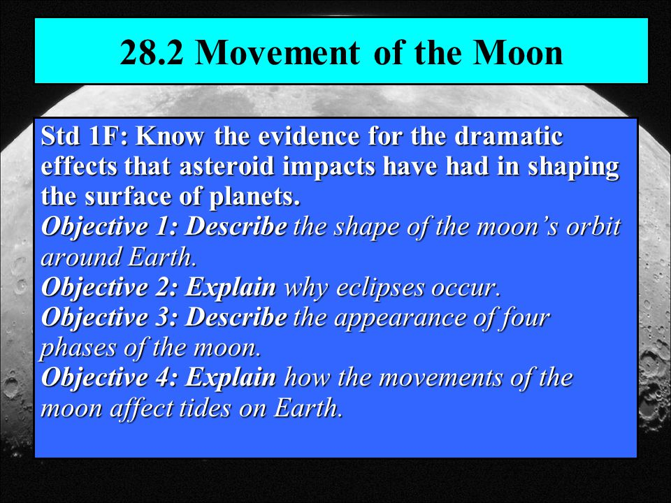 28.2 Movement of the Moon Std 1F: Know the evidence for the dramatic effects that asteroid impacts have had in shaping the surface of planets.