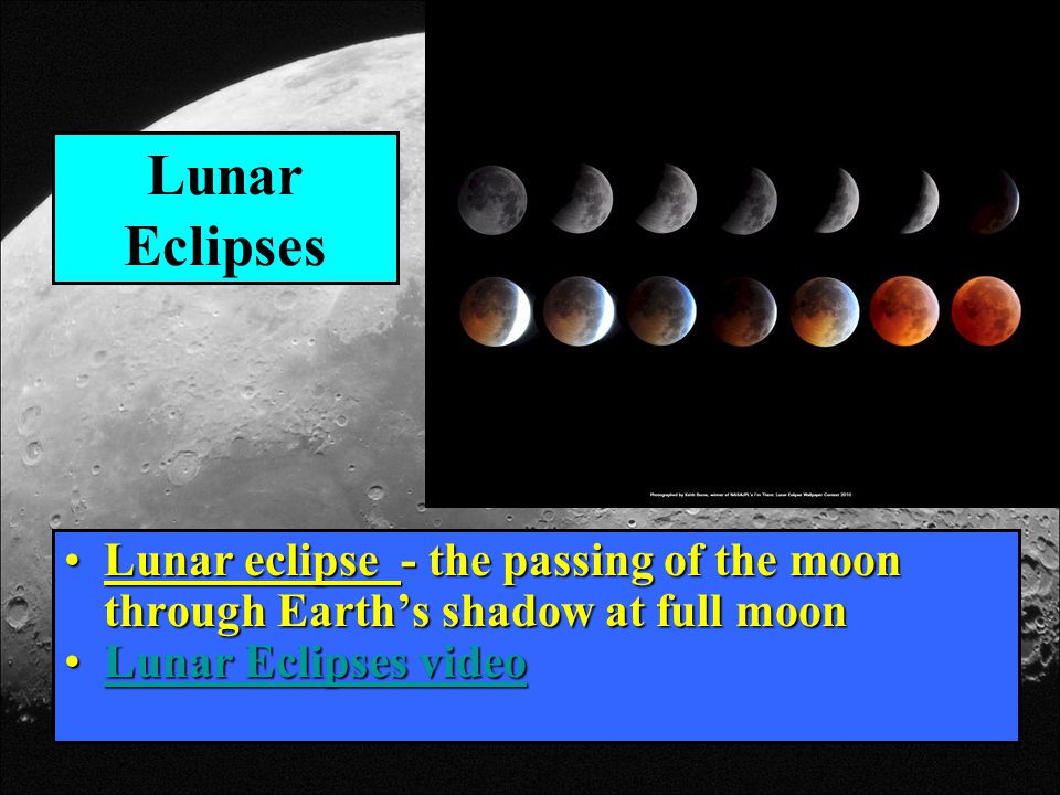 Lunar Eclipses Lunar eclipse - the passing of the moon through Earth's shadow at full moon.