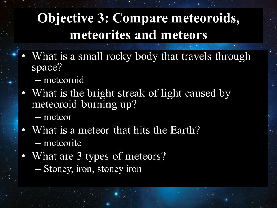Objective 3: Compare meteoroids, meteorites and meteors